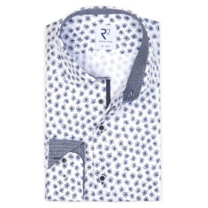 R2 - Navy / White Flower Patterned Shirt