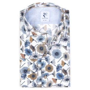 R2 - Blue / Brown Flower Patterned Shirt
