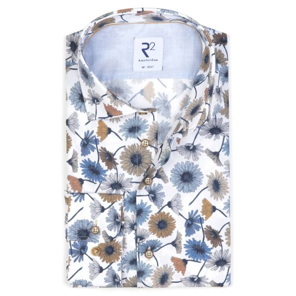 R2 - Blue / Brown Flower Patterned Shirt