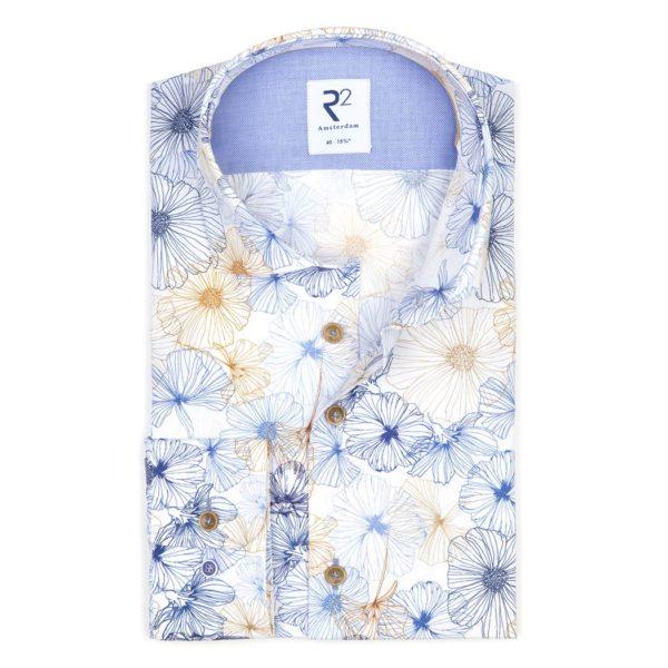 R2- Blue / Brown Flower Patterned Shirt