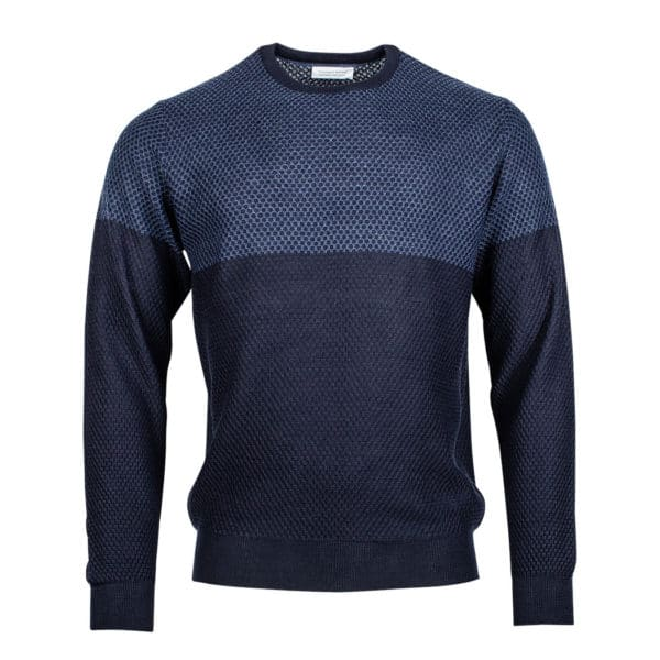 Thomas Maine - 2 tone front panel jacquard blue and navy knit Jumper